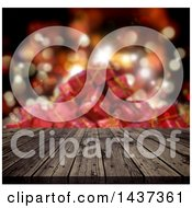 Clipart Of A 3d Old Wooden Table Or Deck Against Blurred Gifts Royalty Free Illustration