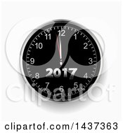 Clipart Of A 3d New Year 2017 Count Down Wall Clock On A Shaded Background Royalty Free Vector Illustration