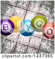 Clipart Of A Bingo Card And Flares With 3d Balls And 2017 Royalty Free Vector Illustration