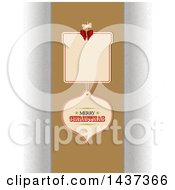 Clipart Of A Gift Shaped And Bauble Tag With Merry Christmas Text Over A Brown Panel Royalty Free Vector Illustration