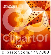 Clipart Of A Happy Holidays Greeting Over A Beautiful Orange Golden Background Of Flares With 3d Stars Royalty Free Vector Illustration