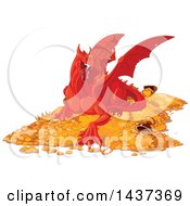 Clipart Of A Red Dragon Guarding A Hoard Of Gold And Treasure Royalty Free Vector Illustration