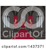 Clipart Of A Medieval Castle Interior Of A Red Carpet And Kings Throne Royalty Free Vector Illustration by Pushkin