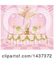 Palace Interior Of A Pink Princess Dining Table Formally Set With Flowers And Fruit