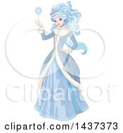 Beautiful Winter Queen Or Ice Princess Holding A Snowflake Wand