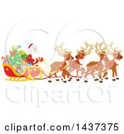 Team Of Christmas Reindeer Ulling Santa In A Sleigh
