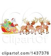 Cartoon Team Of Magic Christmas Reindeer Ulling Santa In A Sleigh