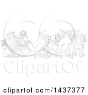 Cartoon Black And White Lineart Team Of Magic Christmas Reindeer Ulling Santa In A Sleigh