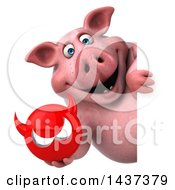 Clipart Of A 3d Chubby Pig On A White Background Royalty Free Illustration