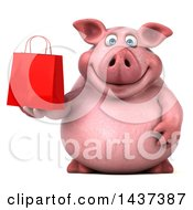 Clipart Of A 3d Chubby Pig Holding A Gift Or Shopping Bag On A White Background Royalty Free Illustration