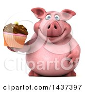 Clipart Of A 3d Chubby Pig Holding A Cupcake On A White Background Royalty Free Illustration by Julos