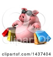3d Chubby Pig Shopping On A White Background