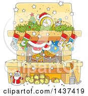 Clipart Of A Cartoon Decorated Christmas Hearth Fireplace With Santas Feet Royalty Free Vector Illustration