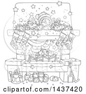 Cartoon Black And White Lineart Decorated Christmas Hearth Fireplace With Santas Feet