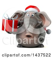 Clipart Of A 3d Christmas Elephant Character Holding A Gift On A White Background Royalty Free Illustration