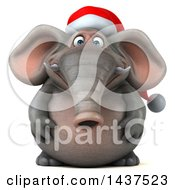 Clipart Of A 3d Christmas Elephant Character On A White Background Royalty Free Illustration