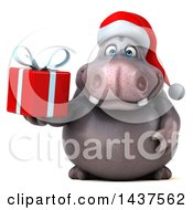 Clipart Of A 3d Christmas Henry Hippo Character Holding A Present On A White Background Royalty Free Illustration