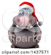 Clipart Of A 3d Christmas Henry Hippo Character On A White Background Royalty Free Illustration