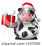 Clipart Of A 3d Holstein Christmas Cow Character Holding A Gift On A White Background Royalty Free Illustration by Julos
