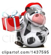 Clipart Of A 3d Holstein Christmas Cow Character Holding A Gift On A White Background Royalty Free Illustration
