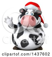 Clipart Of A 3d Holstein Christmas Cow Character Waving On A White Background Royalty Free Illustration