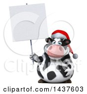 Clipart Of A 3d Holstein Christmas Cow Character Holding A Blank Sign On A White Background Royalty Free Illustration
