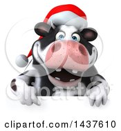 Clipart Of A 3d Holstein Christmas Cow Character On A White Background Royalty Free Illustration