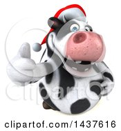 Clipart Of A 3d Holstein Christmas Cow Character Giving A Thumb Up On A White Background Royalty Free Illustration by Julos