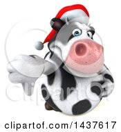 Clipart Of A 3d Holstein Christmas Cow Character Giving A Thumb Down On A White Background Royalty Free Illustration by Julos