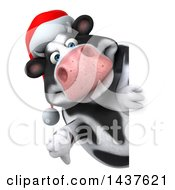 Clipart Of A 3d Holstein Christmas Cow Character On A White Background Royalty Free Illustration by Julos