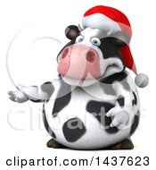 Clipart Of A 3d Holstein Christmas Cow Character Presenting On A White Background Royalty Free Illustration by Julos