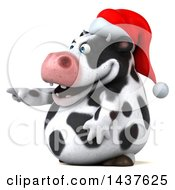 Clipart Of A 3d Holstein Christmas Cow Character Pointing On A White Background Royalty Free Illustration by Julos