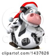 Clipart Of A 3d Holstein Christmas Cow Character Walking On A White Background Royalty Free Illustration by Julos
