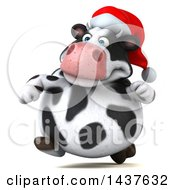 Clipart Of A 3d Holstein Christmas Cow Character Running On A White Background Royalty Free Illustration by Julos
