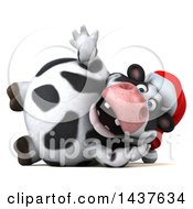 Clipart Of A 3d Holstein Christmas Cow Character Resting On His Side On A White Background Royalty Free Illustration by Julos