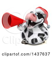 Clipart Of A 3d Holstein Christmas Cow Character Using A Megaphone On A White Background Royalty Free Illustration by Julos