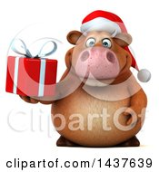 Clipart Of A 3d Brown Christmas Cow Character Holding A Gift On A White Background Royalty Free Illustration by Julos