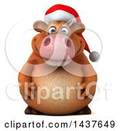 Clipart Of A 3d Brown Christmas Cow Character On A White Background Royalty Free Illustration by Julos