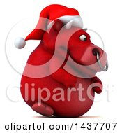 3d Red Christmas Bull Character On A White Background