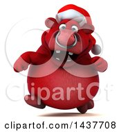3d Red Christmas Bull Character Running On A White Background