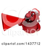 3d Red Christmas Bull Character Using A Megaphone On A White Background