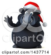 3d Black Christmas Bull Character Waving On A White Background