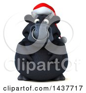 3d Black Christmas Bull Character On A White Background