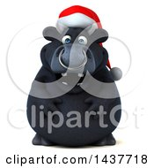 Clipart Of A 3d Black Christmas Bull Character On A White Background Royalty Free Illustration by Julos