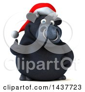 3d Black Christmas Bull Character Giving A Thumb Up On A White Background