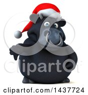 3d Black Christmas Bull Character Giving A Thumb Down On A White Background