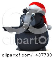 3d Black Christmas Bull Character Pointing On A White Background