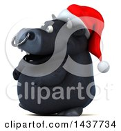 3d Black Christmas Bull Character Walking On A White Background