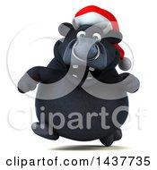 3d Black Christmas Bull Character Running On A White Background