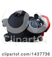 3d Black Christmas Bull Character Resting On His Side On A White Background